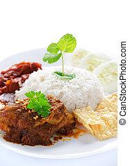 Nasi lemak malay dish - Nasi lemak kukus traditional...