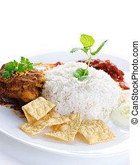 Malay food Nasi lemak - Nasi lemak traditional malaysian hot...