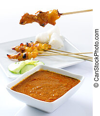 Delicious satay - Chicken satay, grilled and skewered meat,...