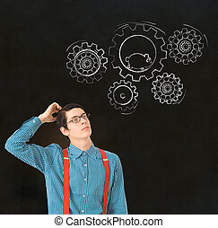 Nerd geek businessman student teacher chalk running hamster...