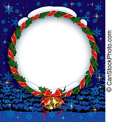 Holly wreath with bells - Isolated raster version of the...