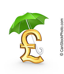 Golden sign of dollar under green umbrella.Isolated on...