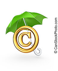Copyright symbol under green umbrellaIsolated on white3d...