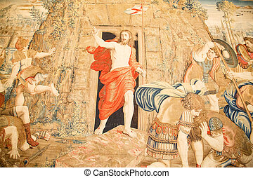 Vatican Tapestry - Tapestry in Vatican museum displaying a...