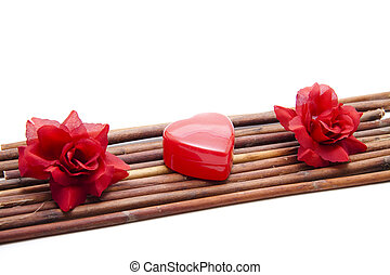 Heart with rose blossom