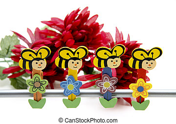 Wooden bees   - Wooden bees in metal pole