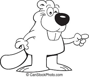 Cartoon beaver pointing - Black and white illustration of a...