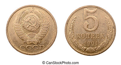 centavos, soviético, moneda, cinco