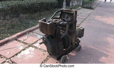 portable electric generator - old and grunge Gasoline...