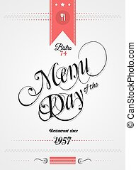 Old Style Vintage Menu of the Day background template. Ideal...