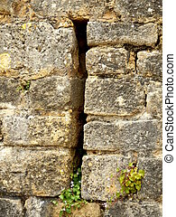 Arrow slit in medieval wall - Arrow slit aka arrow loop,...