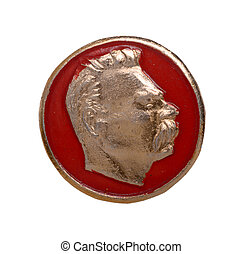Soviet badge with Maxim Gorky isolated on a white background