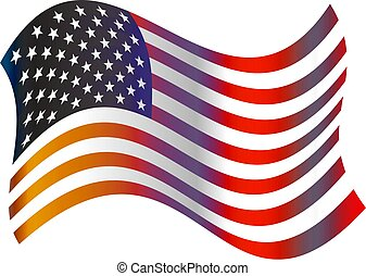 American flag - American stars and stripes wavy flag design...