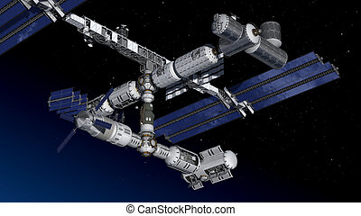 Satellite Spacestation flying - Satellite Space-station...