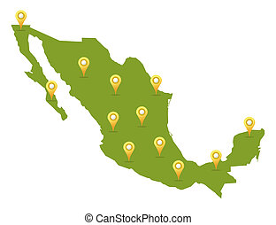 Mexico map in green color