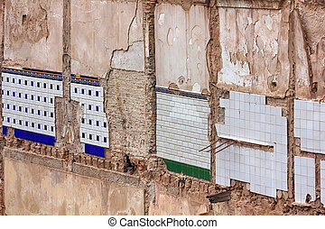Maisons, murs, vieux, ruiné