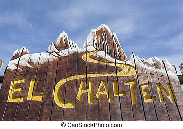 Welcome to El Chalten sign Patagonia, Argentina