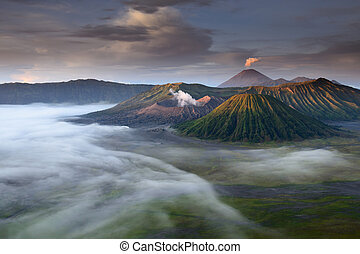 Mount Bromo, Java, Indonesia - landscape of Volcanoes in...