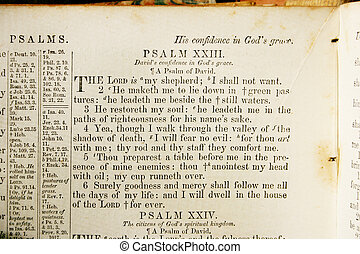 Psalm 23 from an old Bible - Psalm 23 as it appears in an...