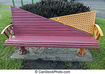 Bench in the park - Suva, Fiji - Colorful bench in the park...