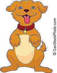 funny dog cartoon - cute cartoon dog standing