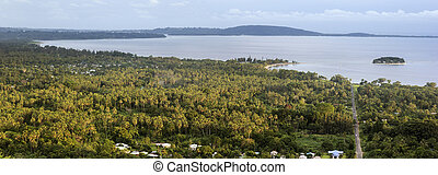 Efate, Vanuatu - afternoon panorama with Hideway Island and...