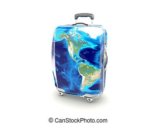 luggage earth map isolated on white background