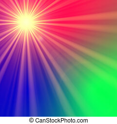 star with rainbow light rays