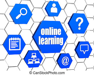 online learning and internet signs in blue hexagons - online...