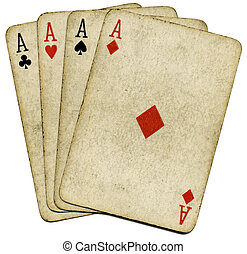 Four old dirty aces. - Four old vintage dirty aces poker...