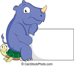 turtle and rhino cartoon with blank sign