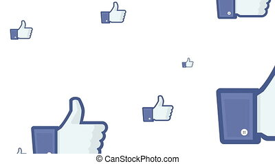 "Thumbs up cascade - Several ""like"" symbols falling like..."