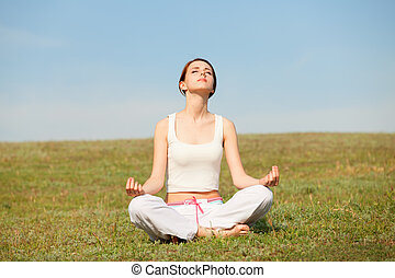 woman doing morning sports exercises