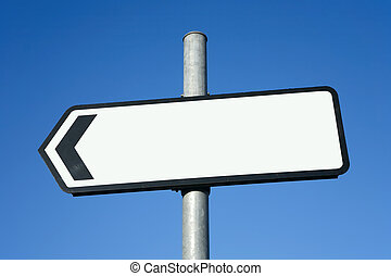 Left pointing direction sign with space for text.