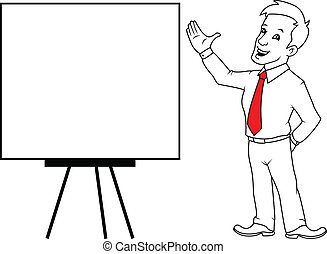 man with white board - businessman standing in front of a...