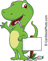 green lizard cartoon with signboard