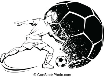 Boy Soccer Player with Splatter Bal - Black and white...