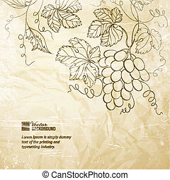 Brown wrinkled paper with grapes Vector illustration
