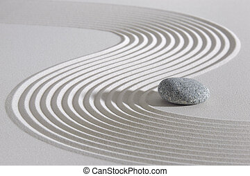 Japan zen garden  - Japan garden with stone in raked sand