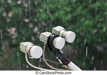 Downpour - Parabolic satellite dish LNB converter against...