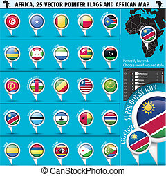 Africa Pointer Flag Icons with african Map set2, vector...