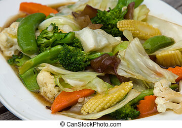 Broccoli salad with carrot and mushrooms