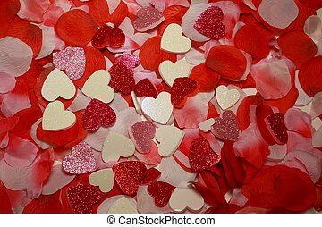 Hearts - Assorted hearts spread on white background