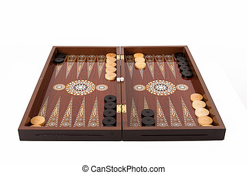 Backgammon Set - Backgammon set with table, chips and dice...