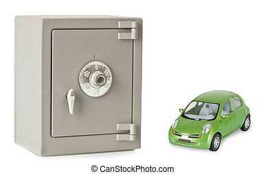 Metal safe on a white background - Metal safe with green car...