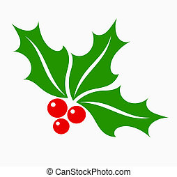 Holly berry symbol - Holly berry leaves and fruits,...
