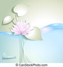 Scheda, stilizzato, waterlily