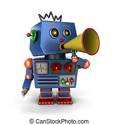 Toy robot with bullhorn - Vintage toy robot shouting out a...