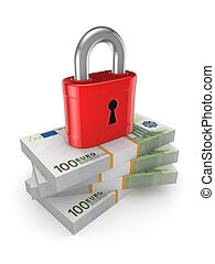 Green lock on a stack of euro.