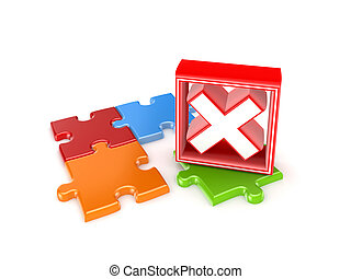 Colorful puzzles and red cross mark.